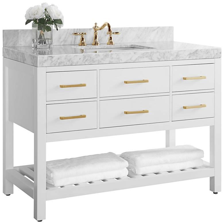 "Elizabeth 48""W Gold Hardware White Marble Single Sink Vanity"