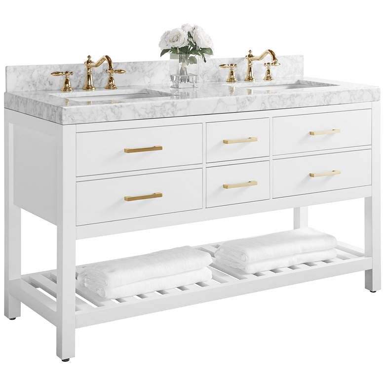 "Elizabeth 60""W Gold Hardware White Marble Double Sink"