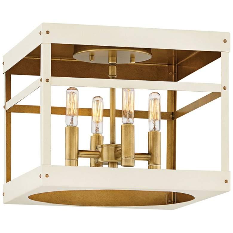"Porter 12""W Heritage Brass and White 4-Light Ceiling Light"