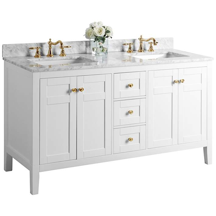 Maili 60 Wide Gold Hardware White Marble Double Sink Vanity 62x17 Lamps Plus