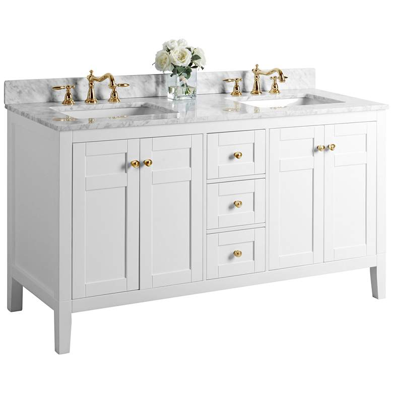 """Maili 60"""" Wide Gold Hardware White Marble Double Sink Vanity"""