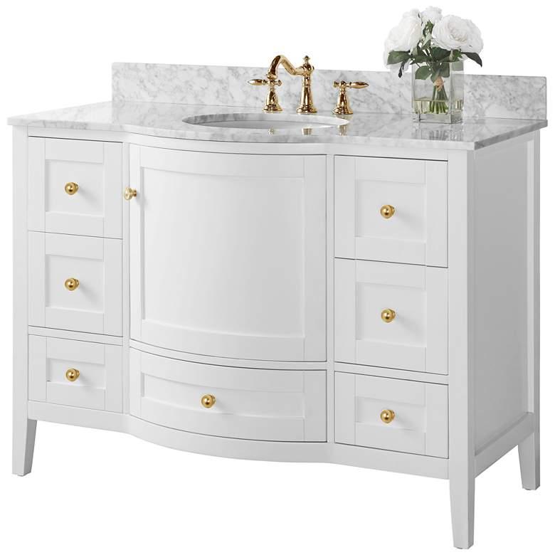 "Lauren 48"" Wide Gold/White Marble Single Sink Vanity"