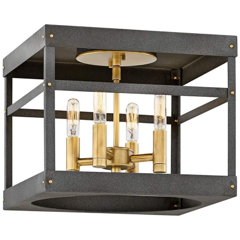 """Hinkley Porter 12"""" Wide Heritage Brass 4-Light Ceiling Light"""