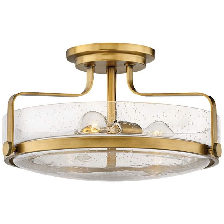 """Hinkley Harper 18"""" Wide Heritage Brass 3-Light Ceiling Light"""