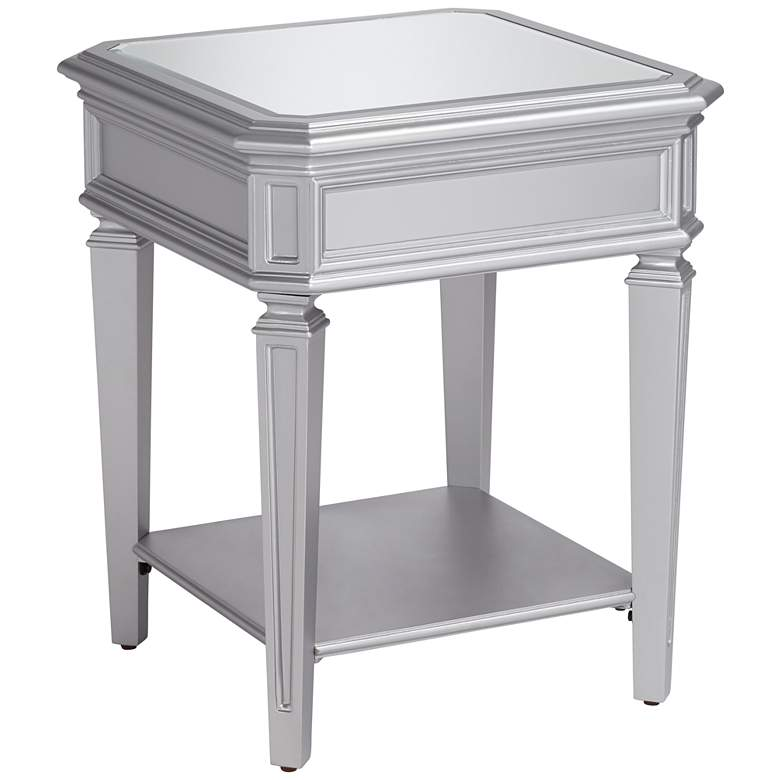 """Aurora 20"""" Wide Mirrored and Silver Traditional Side Table"""