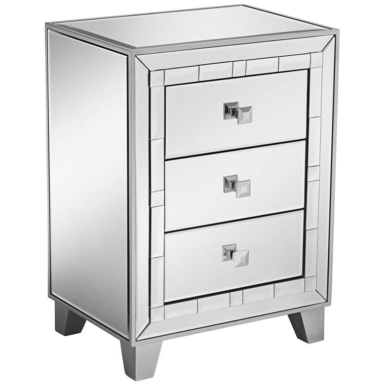 """Jazyln 19"""" Wide Mosaic Trim Mirrored 3-Drawer Accent Table"""