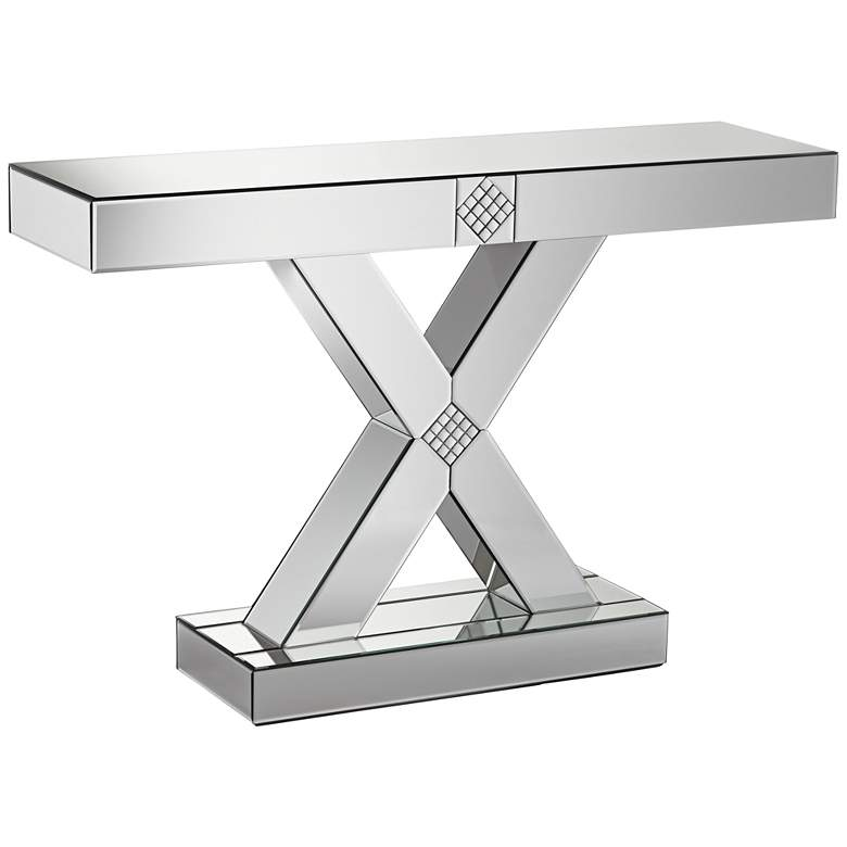 """Medina 46 1/2"""" Wide Mosaic X-Frame Mirrored Console Table"""