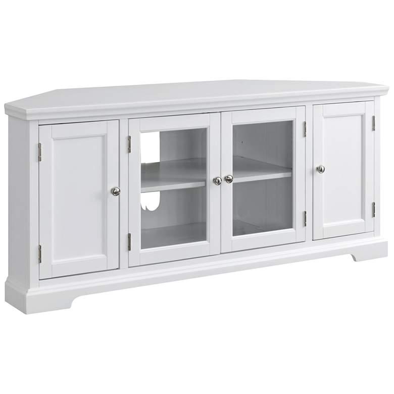 """Leick 57"""" Wide White Wood Glass Door Corner"""