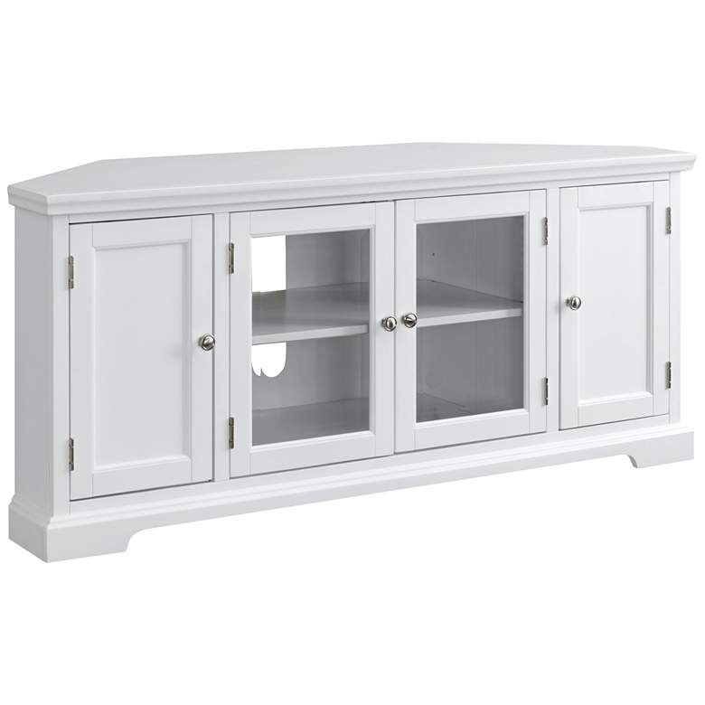 "Leick 57"" Wide White Wood Glass Door Corner TV Console"
