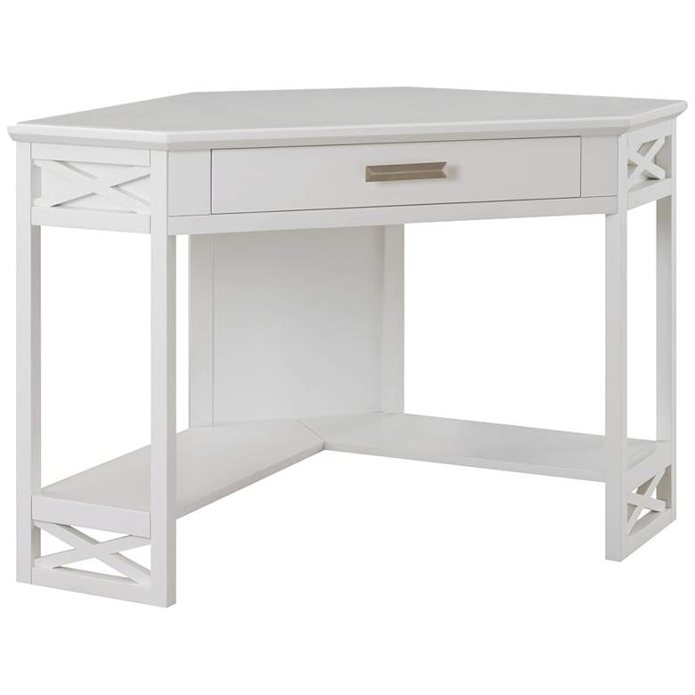 "Leick 48"" Wide White Wood 1-Drawer Corner Computer Desk"