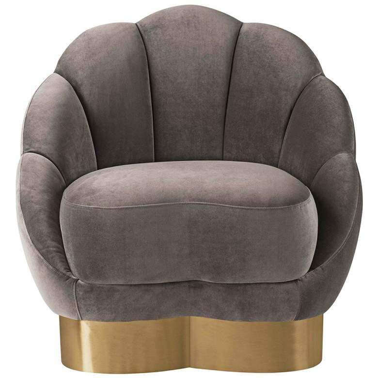 Bloom Light Gray Velvet Channel Tufted Accent Chair