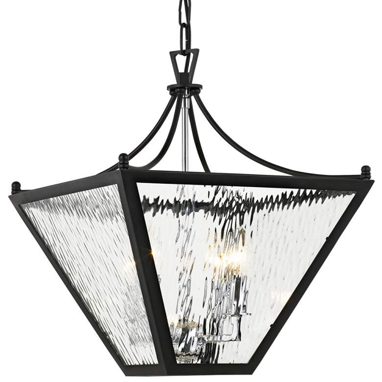 "Park Hill 16"" Wide Matte Black and Water Glass Pendant Light"