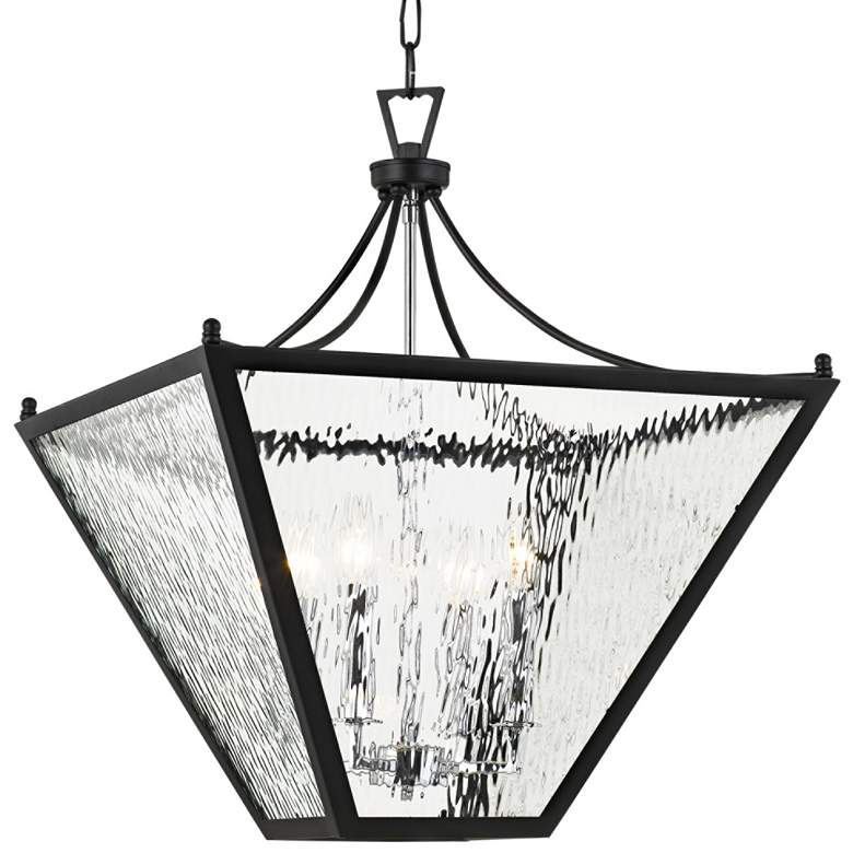 "Park Hill 21"" Wide Matte Black and Water Glass Pendant Light"