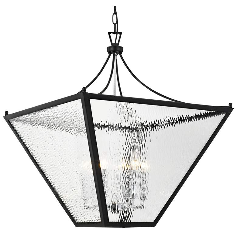 """Park Hill 27"""" Wide Matte Black and Water Glass Pendant Light"""