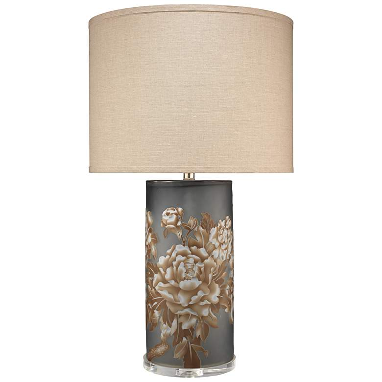 Jamie Young Blossom Matte Gray Glass Cylinder Table Lamp
