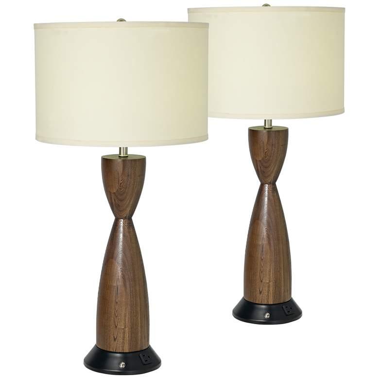Modern Hourglass Light Kona Outlet Plug Table Lamps Set of 2