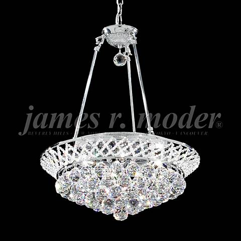 "James Moder Jacqueline 19"" Wide Silver Crystal Chandelier"