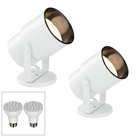 Cord-n-Plug White LED Accent Uplight w/ Foot Switch Set of 2