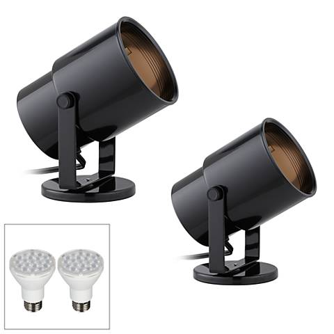Cord-n-Plug Black LED Accent Uplight w/ Foot Switch Set of 2