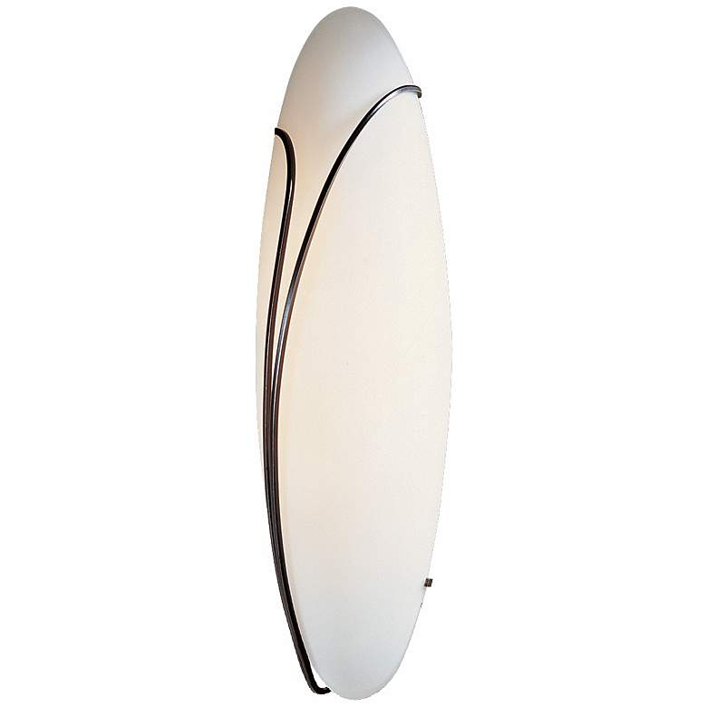 """Oval Reed Left Opal Glass 20"""" High Wall Sconce"""