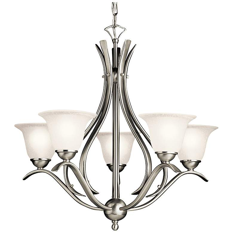 """Dover Collection 24""""W Brushed Nickel Five Light Chandelier"""