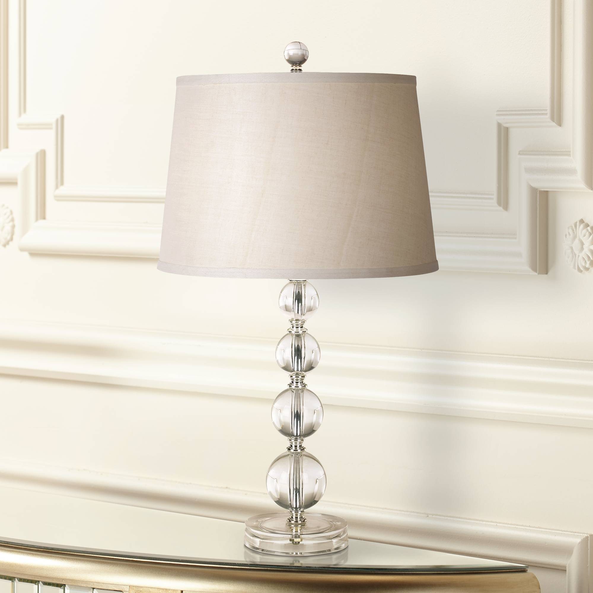 Modern Table Lamp Stacked Clear Acrylic Ball Open Design For Living