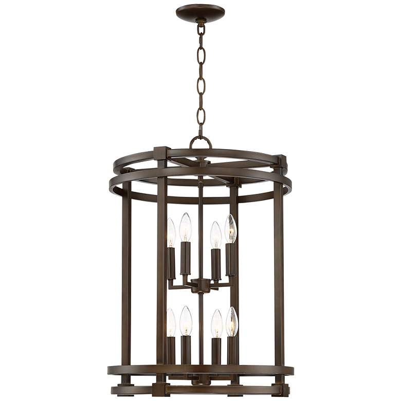 """Galaxy 18 1/2"""" Wide Oil-Rubbed Bronze 8-Light Entry Pendant"""