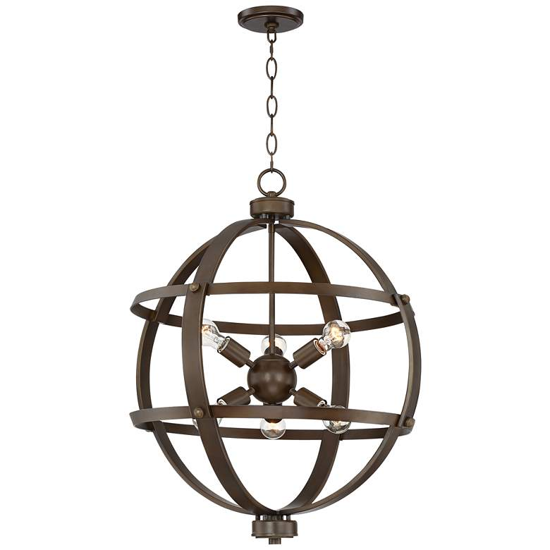 "Galaxy 25"" Wide Oil-Rubbed Bronze 6-Light Orb Pendant"