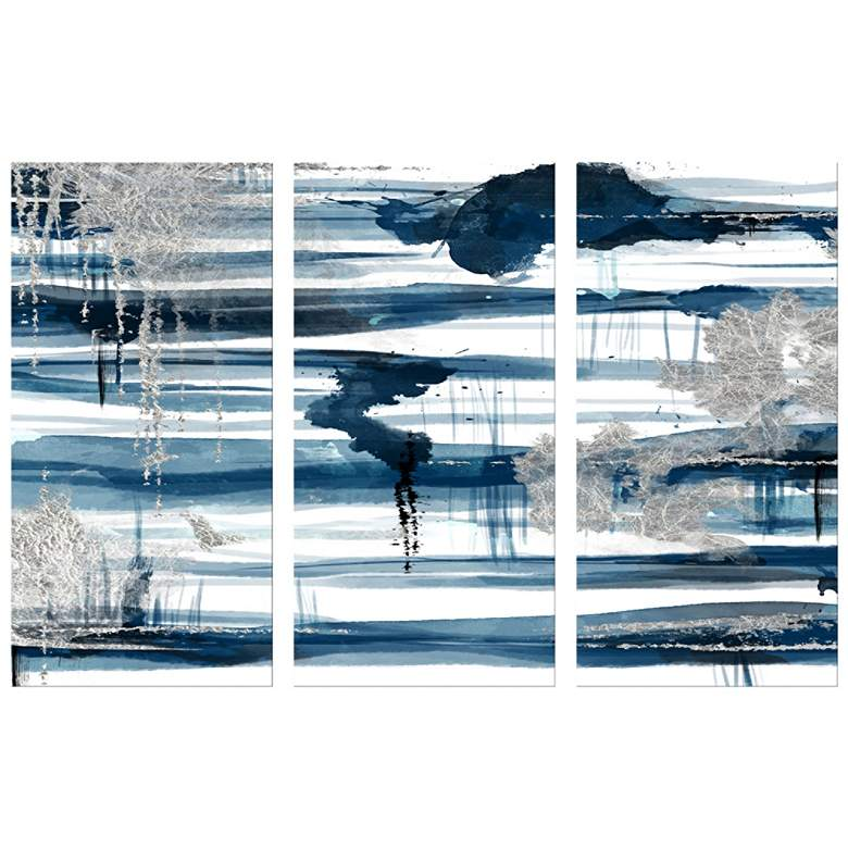 "Blue and Silver Leaf 40"" High Triptych Canvas Wall Art"