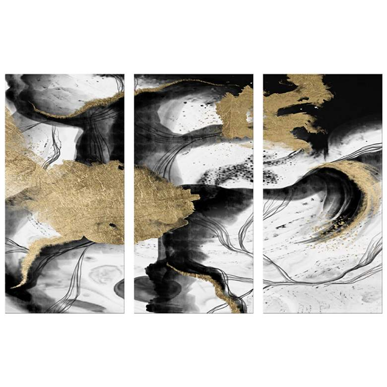 "Gold Leaf and Black Swirl 40""H Triptych Canvas"