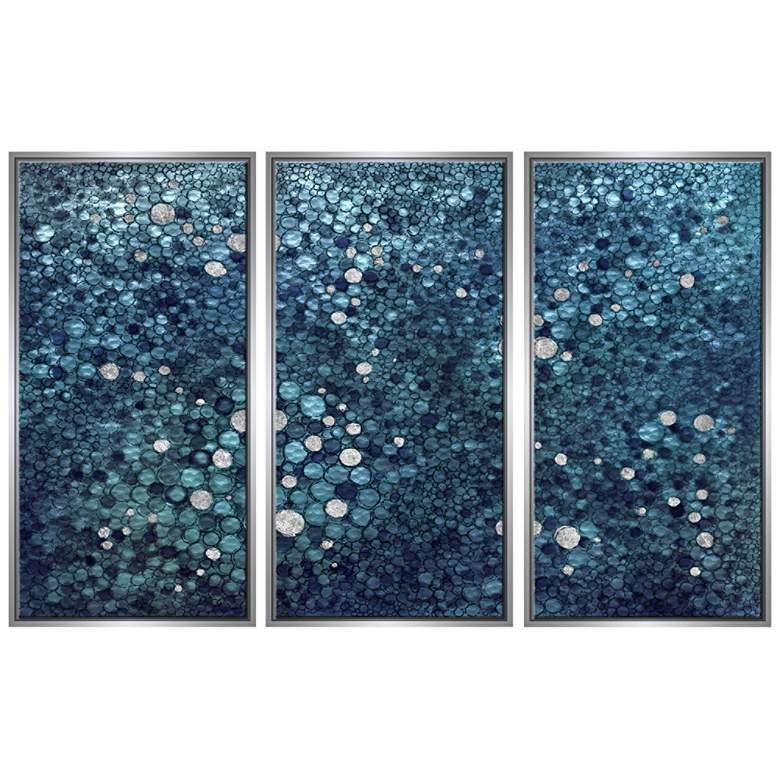 "Blue Pebble 40"" High Triptych Framed Canvas Wall Art"