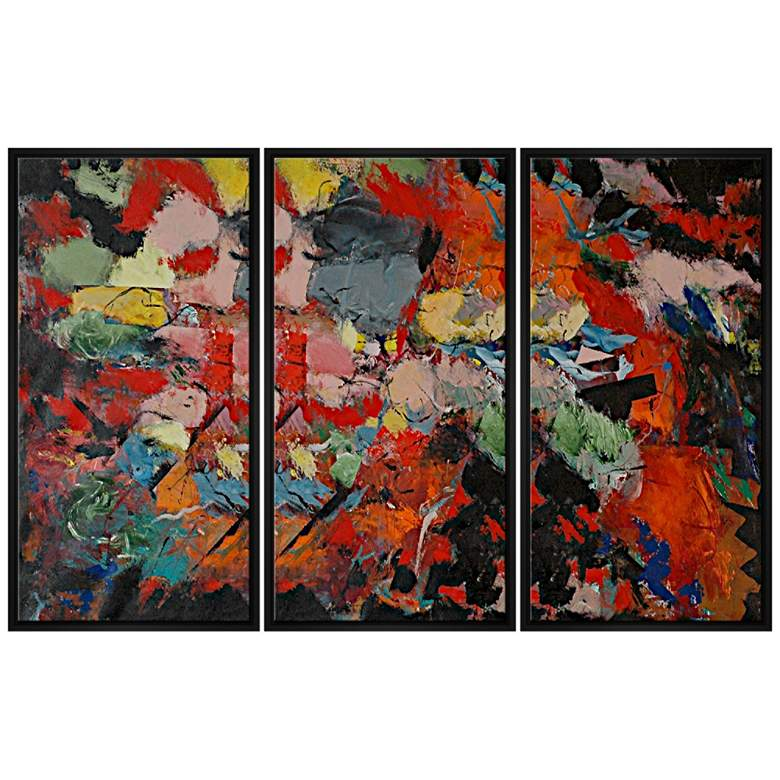 """Abstract in Red 40""""H Triptych Framed Canvas Wall"""
