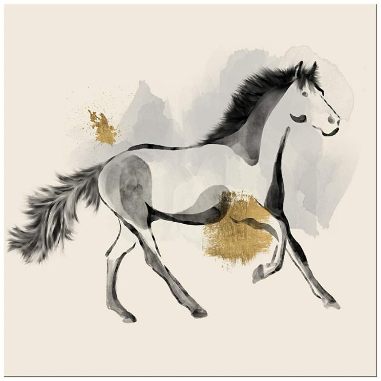 """Horse Sketch 20"""" Square Giclee Canvas Wall Art"""