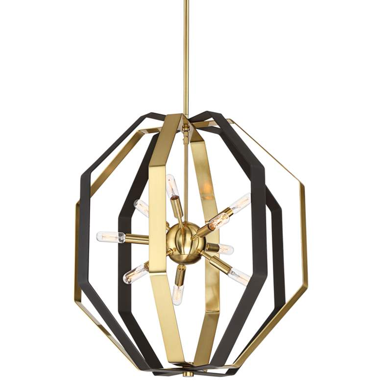 """Octo 22 3/4"""" Wide Bronze and Gold 9-Light Pendant Light"""