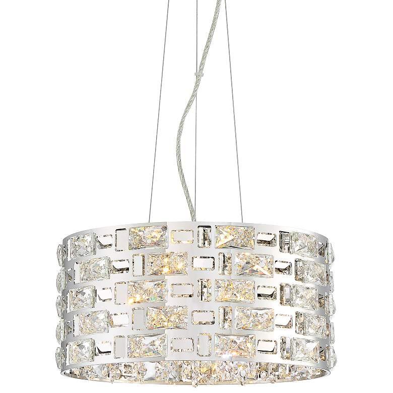 """Possini Euro Crystal Rain 15 1/2"""" Wide Chrome LED Pendant"""