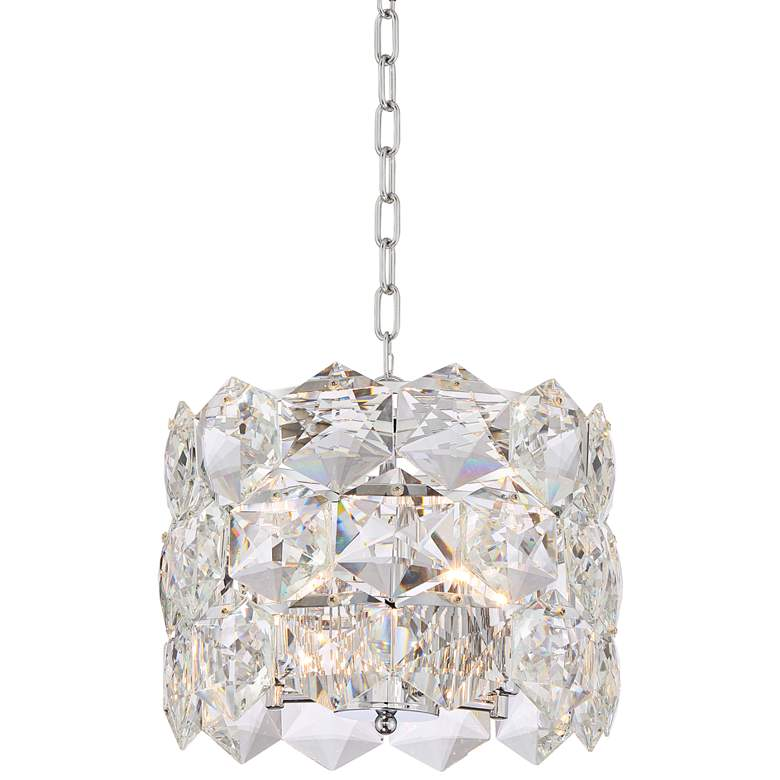 """Etienne 13 1/2"""" Wide Chrome and Crystal Pendant Light"""