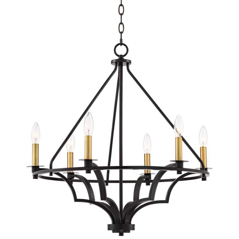 "Petros 25 1/4"" Wide Bronze and Warm Brass 6-Light Chandelier"