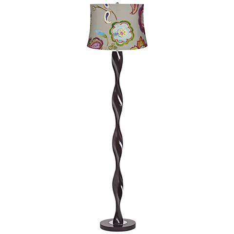 Beige and Colored Flower Shade Twist Floor Lamp