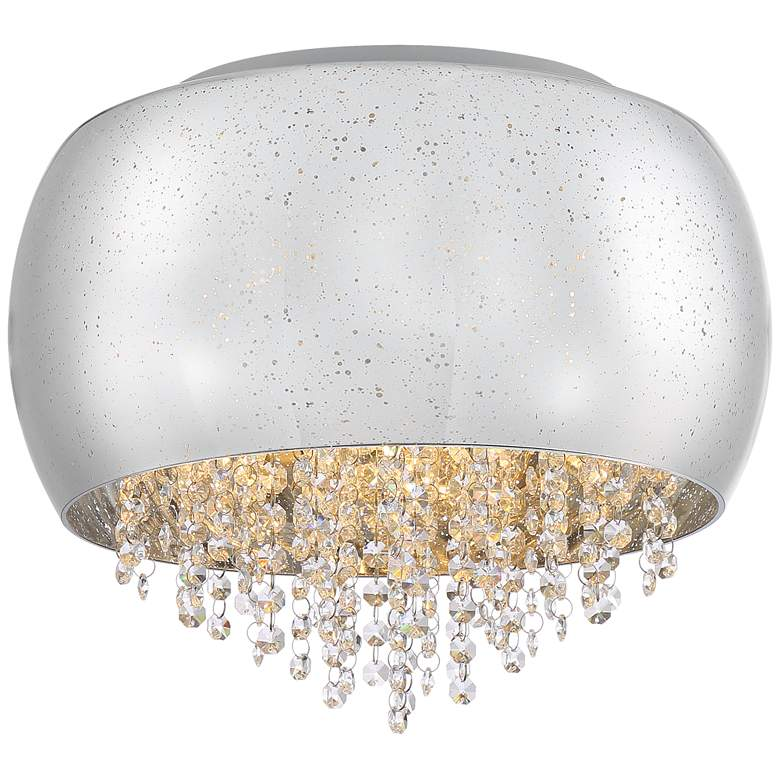 """Possini Euro Nelly 16"""" Wide Crystal Glass LED Ceiling Light"""