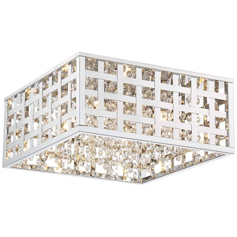 """Possini Euro Antwerp 15"""" Wide Chrome LED Ceiling Light"""