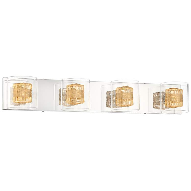 "Possini Euro Wrapped Wire 30 3/4"" Wide Gold Bathroom Light"