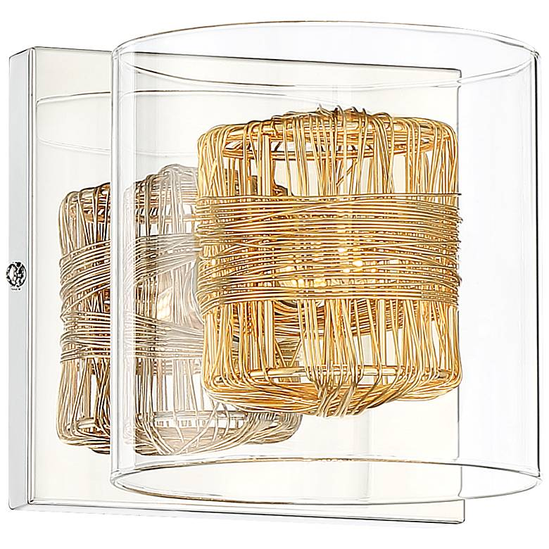 """Possini Euro Wrapped Wire 5"""" High Gold Wall Sconce"""