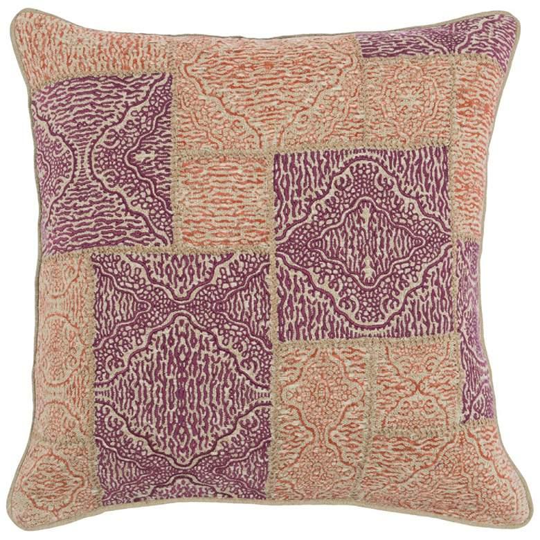 "Mara Berry and Orange 22"" Square Decorative Pillow"