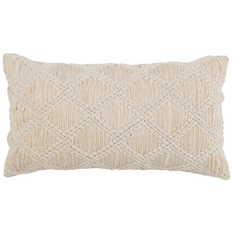 """Nadia Natural 26"""" x 14"""" Rectangular Decorative Pillow"""