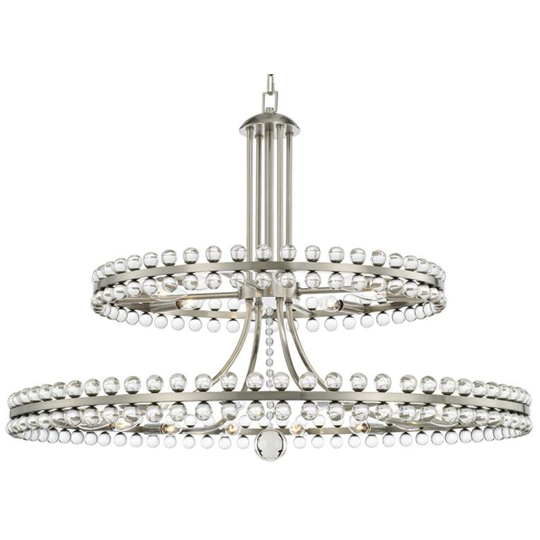 "Crystorama Clover 40"" Wide Brushed Nickel 2-Tier Chandelier"