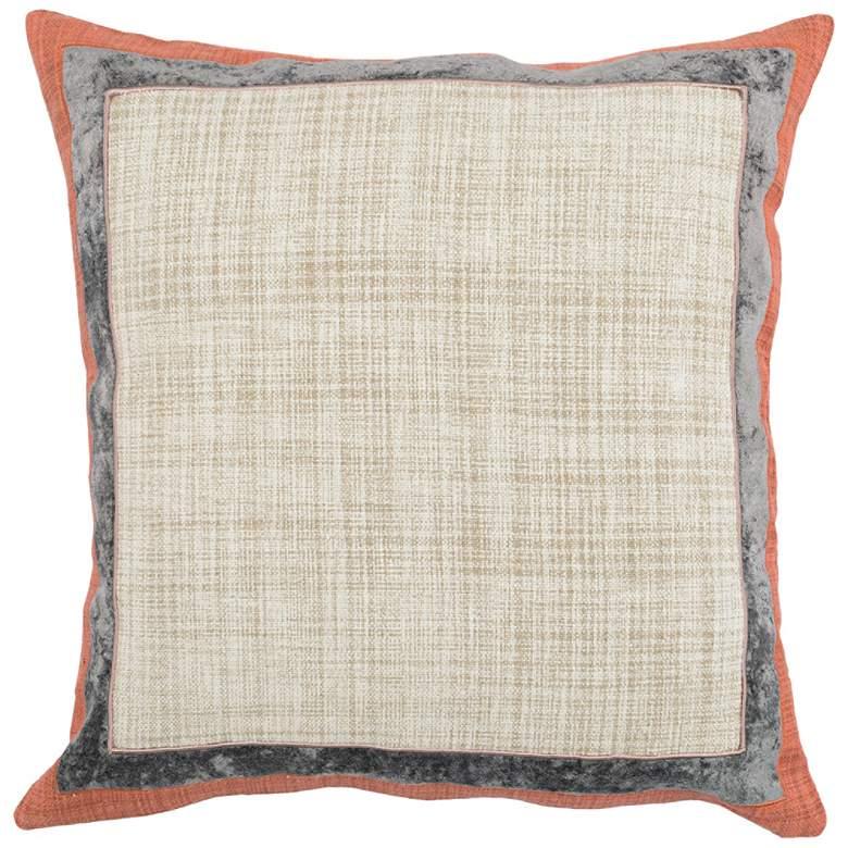 """Lena Gray and Orange 22"""" Square Decorative Pillow"""