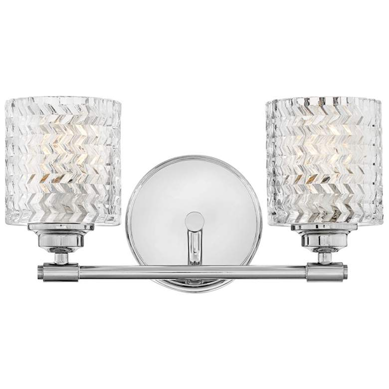 "Hinkley Elle 7 1/2""H Chrome and Glass 2-Light Wall Sconce"