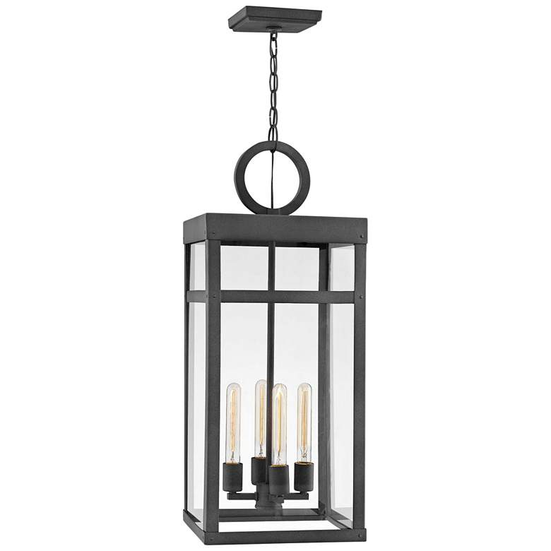 "Hinkley Porter 31 1/4"" High Aged Zinc Outdoor Hanging Light"