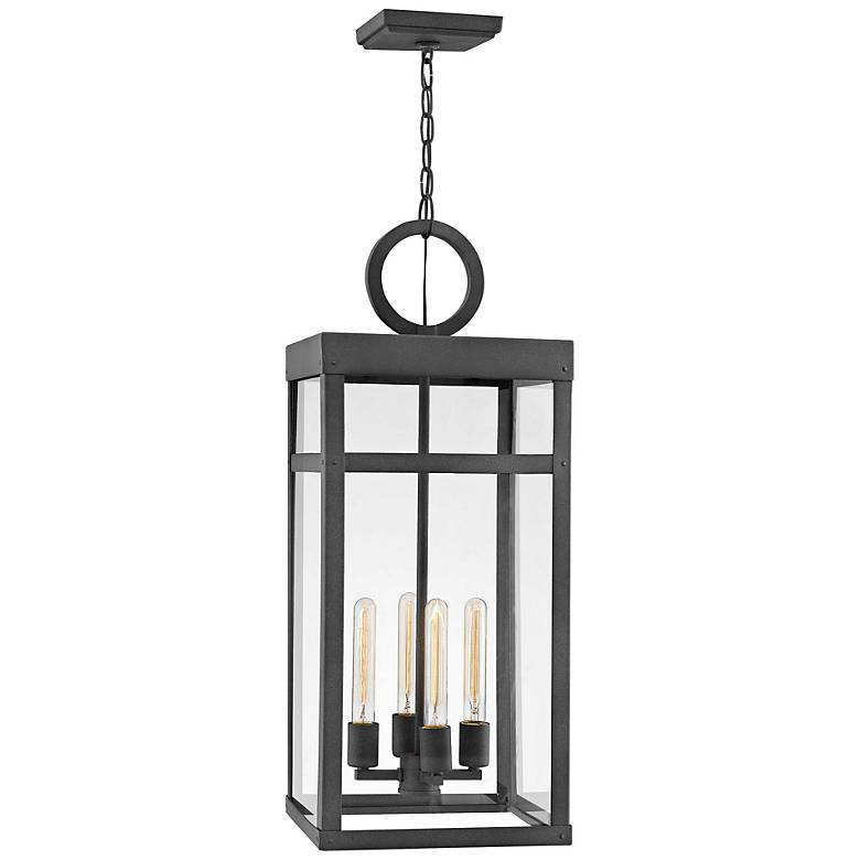 "Hinkley Porter 31 1/4"" High Aged Zinc Outdoor Hanging Light"