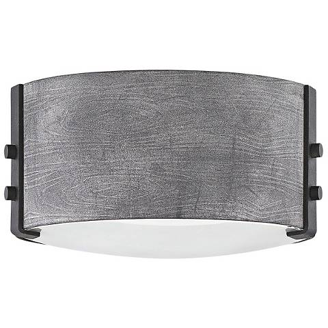 """Hinkley Sawyer 9"""" Wide Aged Zinc Outdoor Ceiling Light"""